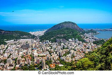 View on Rodrigo de Freitas Lagoon and Zona Sul, Rio de...