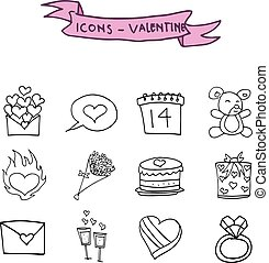 Valentine icons element of hand draw
