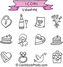 Valentine element icons with hand draw