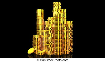 Gold Coins On Black Background.
