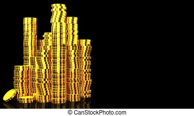 Gold Coins On Black Text Space.