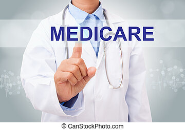 Doctor hand touching MEDICARE sign on virtual screen....