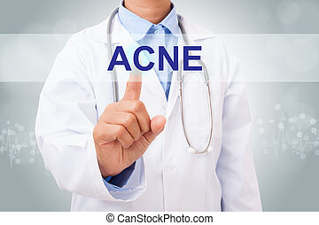 Doctor hand touching ACNE sign on virtual screen. medical...