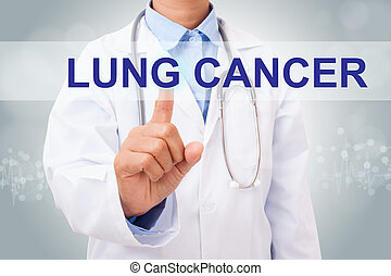 Doctor hand touching LUNG CANCER sign on virtual screen....