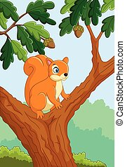 Cartoon funny squirrel on the tree - Vector illustration of...