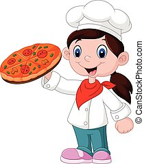 Cute little girl holding pizza - Vector illustration of Cute...