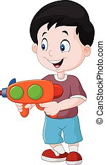 Little boy playing with water gun - Vector illustration of...