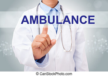 Doctor hand touching ambulance sign on virtual screen....