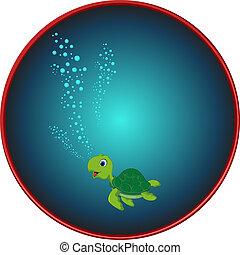 Cute sea turtle cartoon on sea - vector ilustration of Cute...