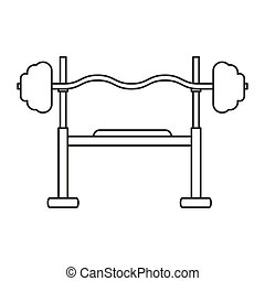 outline brench press exercise gym design