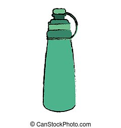 drawing green bottle water hydration fitness gym vector...
