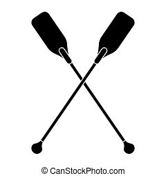 pictogram paddles crossed boat tool vector illustration eps...