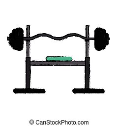 drawing brench press exercise gym design vector illustration...