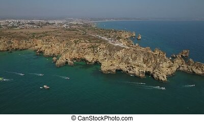 View from the sky the Bay and the Cape Ponta de Piedade....