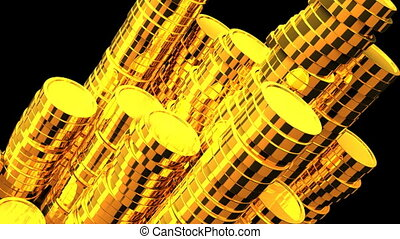 Gold Coins On Black Background. Loop able 3DCG render...