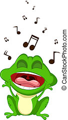 Cute cartoon green frog singing - vector ilustration of Cute...