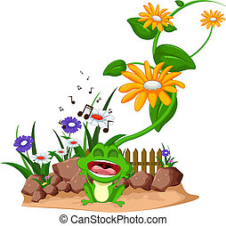 Cute cartoon green frog singing on garden - vector...