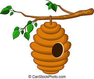 beehive hanging from a branch isolated - vector ilustration...