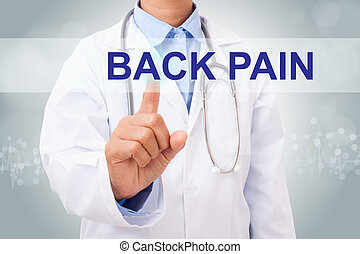 Doctor hand touching back pain sign on virtual screen....