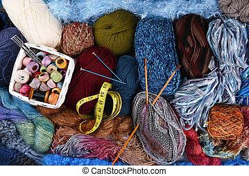 Knitting Still Life - Still life of assorted yarns and...