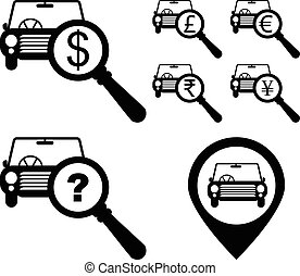 Dollar, Pound, Euro, Rupee, Yen money sign with magnifying...