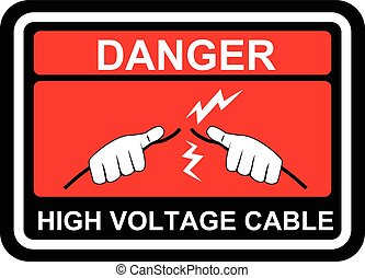 Vector signs of Danger High Voltage label signs.