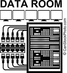 Vector pictograph of data room or storage server room