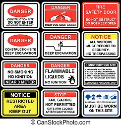 Building construction site safety warning signage, icons and...
