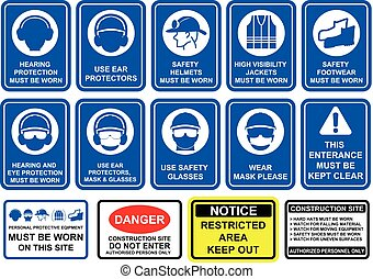 Blue mandatory set of safety equipment signs in white...