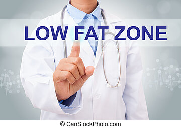 Doctor hand touching low fat zone sign on virtual screen....