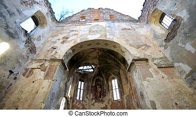 abandoned church with sun rays and grey stone HD