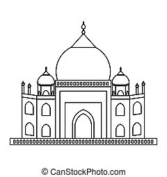 Taj mahal architecture icon vector illustration graphic...
