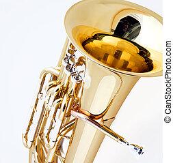 Brass Tuba Euphonium Isolated on White - A gold brass tuba...