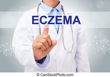 Doctor hand touching ECZEMA sign on virtual screen. healthy...