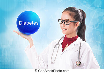 Female doctor holding blue crystal ball with diabetes sign...