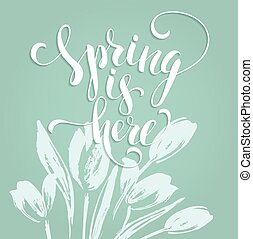 Sping is here. Lettering design. Vector illustration
