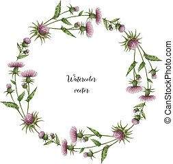 Watercolor vector round frame of milk Thistle. Healing Herbs...