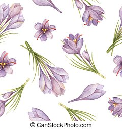 Watercolor seamless pattern with saffron flowers and...