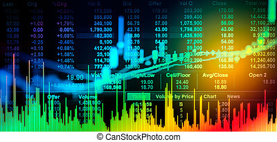 Graph of stock market data and financial with stock analysis...