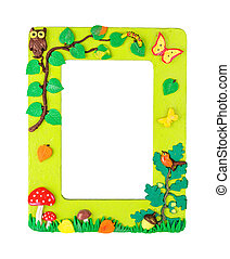 Photo frame made from polymer clay handmade crafted fiels...
