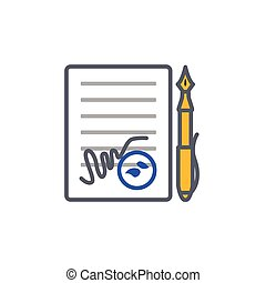 Vector icon or illustration with contract and pen in outline style