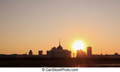 City lights illuminated. Astana, Kazakhstan
