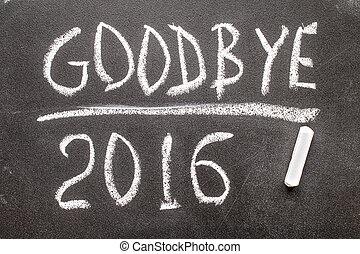 GOOD BYE 2016 text written on chalkboard, concept