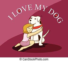 Woman hug her big dog