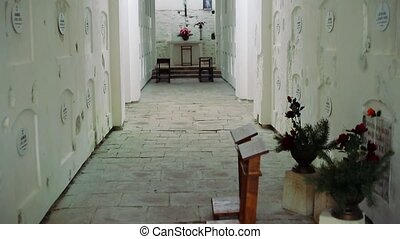 Crypt Inside the white cave of monastery HD