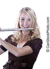 Flute Player Teenage Girl on White - A teenage female girl...