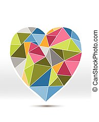 Colorful diamond heart on white background