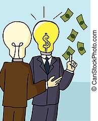 Businessman with bright light bulb head Dollar Sign, concept of the idea business success