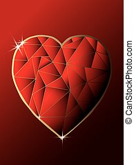 Red shiny diamond heart with dark background