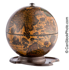 Old wooden terrestrial globe on a plinth showing the oceans...